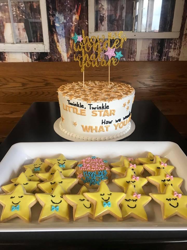 Gender Reveal Cake & Star Shaped Cookies