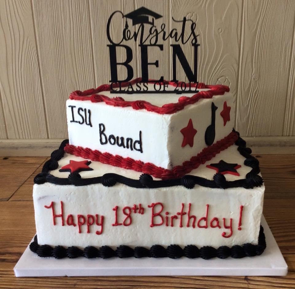 Birthday/Graduation Cake, 2 tier, square, Class of 2017