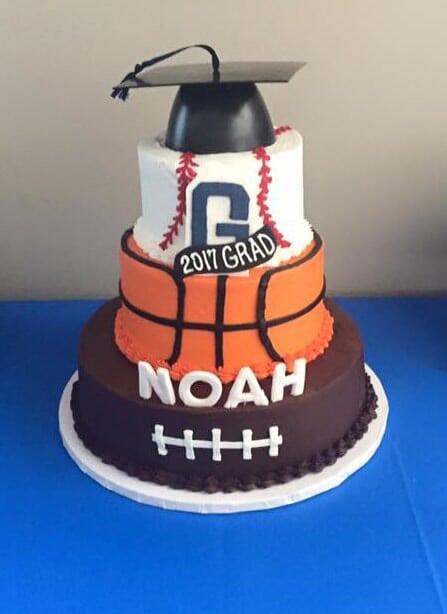 Three Tier Graduation Cake, Football, basketball, Baseball