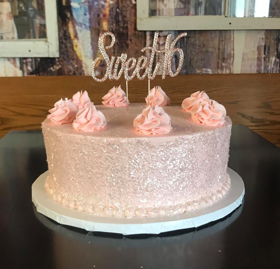Sweet 16 Single Tiered Cake, Pink with sparkles