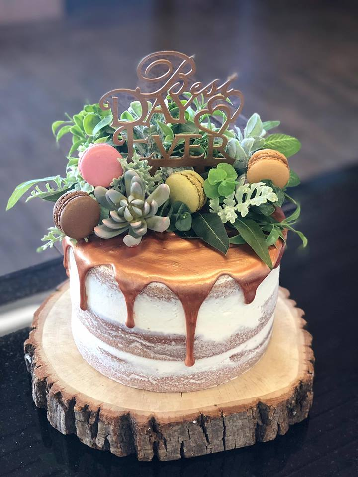 Wedding Cake with succulents & cookies and Best Day Ever topper