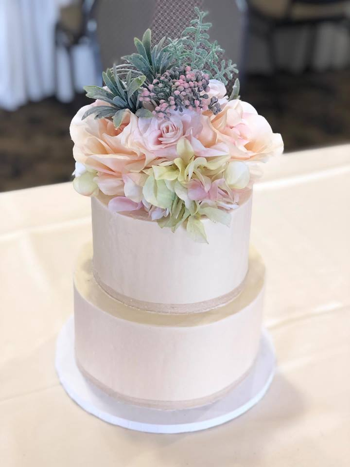 Wedding Cake with succulents & flowers, pastel tones