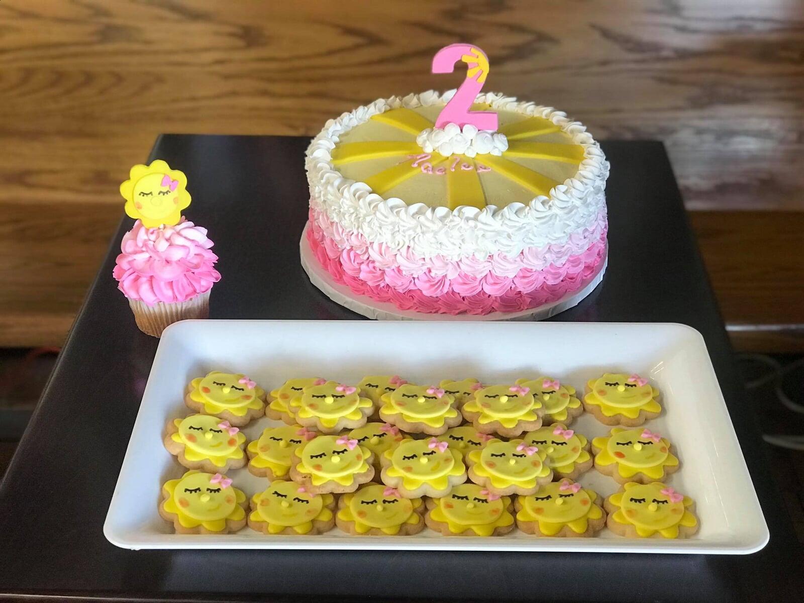 Birthday Cake, Cupcake & matching cookies