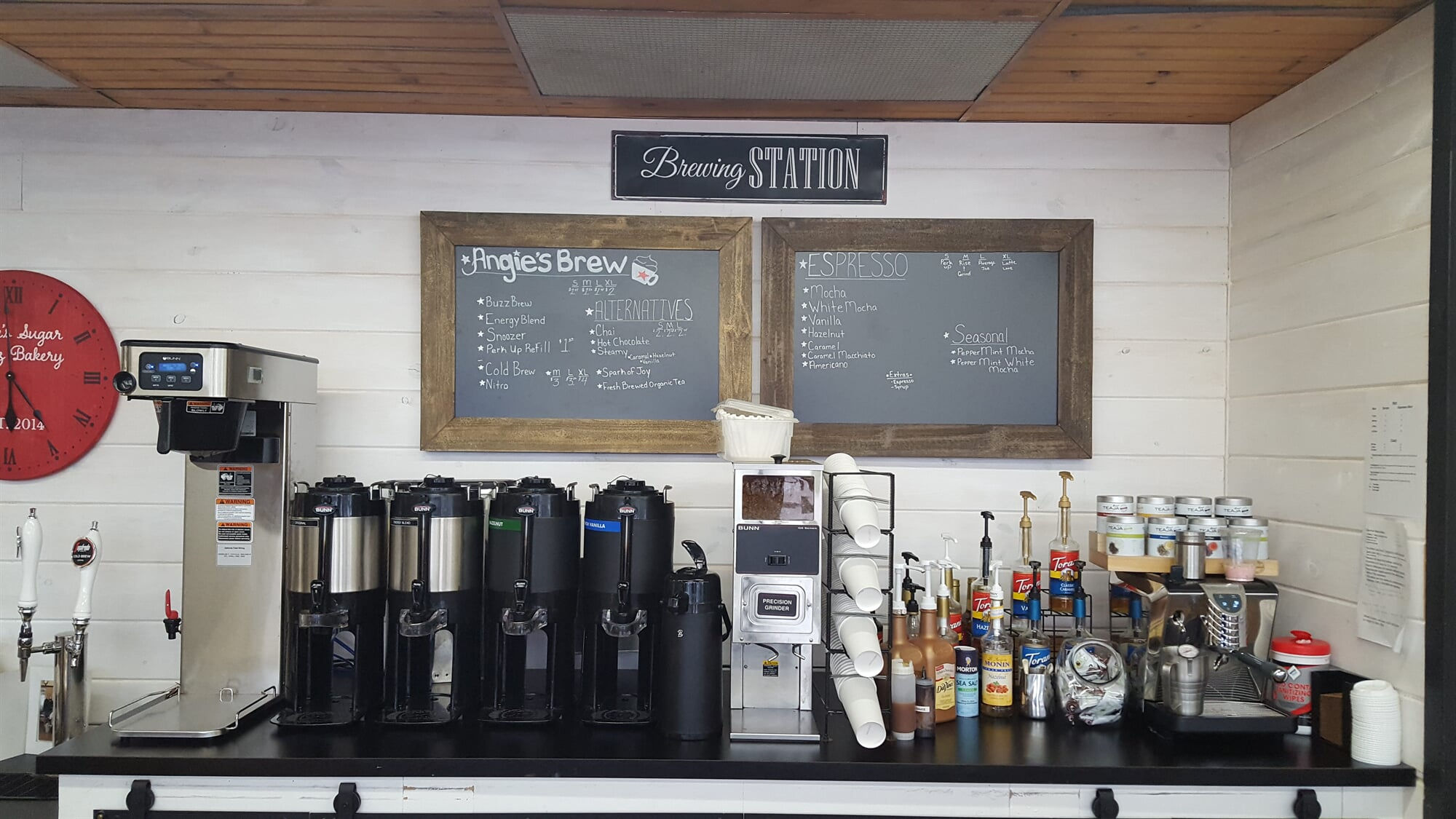 Display of coffee station at Angie's Sugar Buzz Bakery