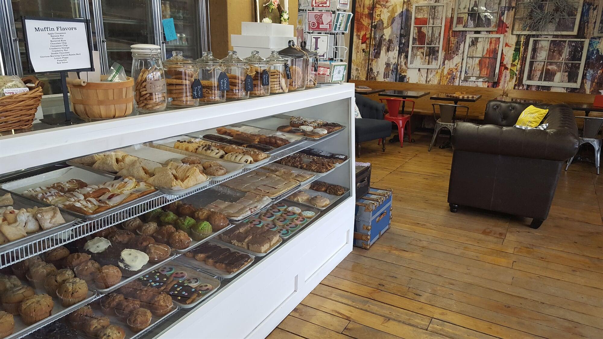 Display case of Breakfast treats and cookies