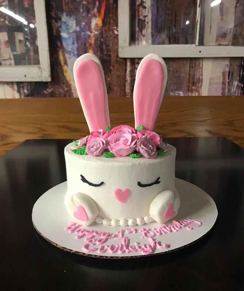 Bunny Birthday Cake with feet and ears as the topper
