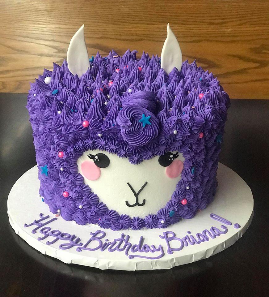 Purple Llama Birthday Cake