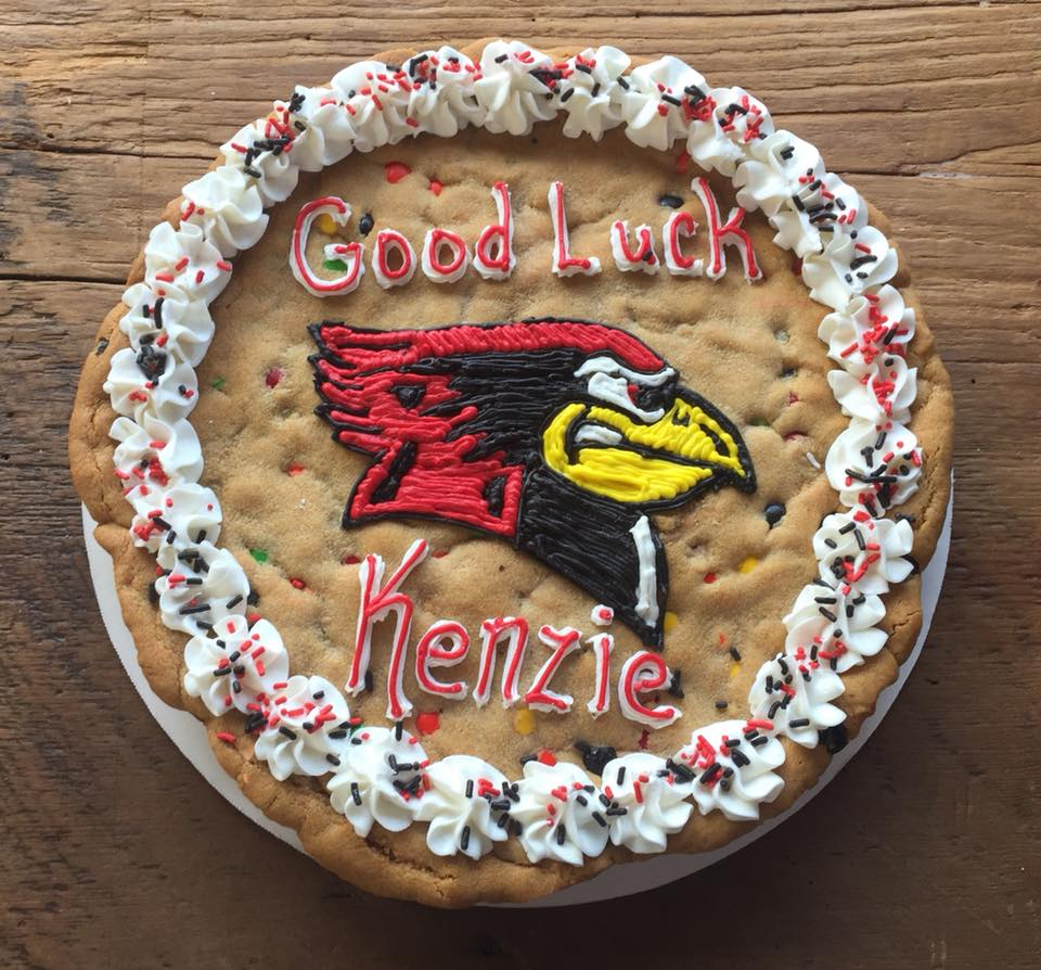 Giant Good Luck Chocolate Chip Cookie Cake with Cardinal