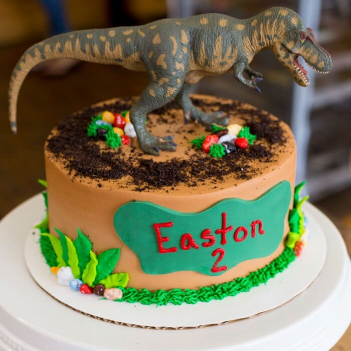 Dinosaur themed Birthday Cake with t-rex Topper