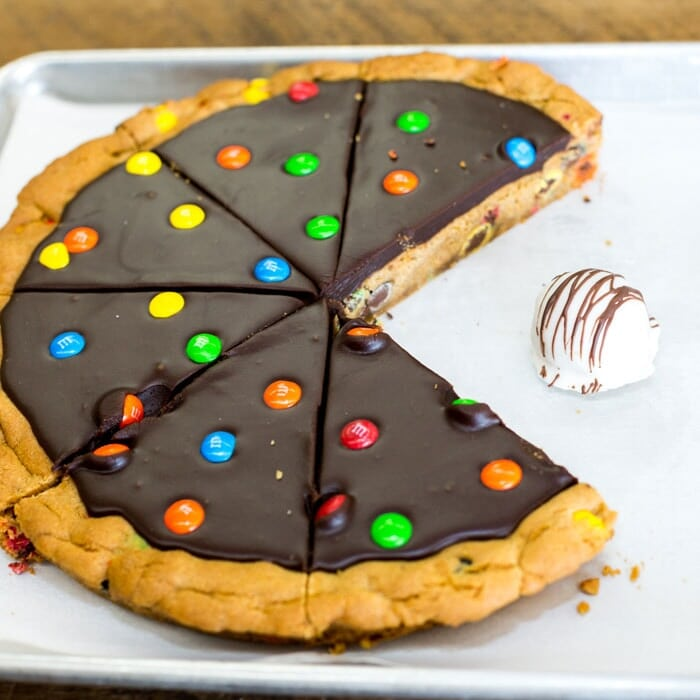 Giant Cookie Cake with Chocolate Frosting and M&Ms