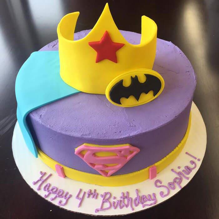 Super Hero Themed Girl Birthday Cake