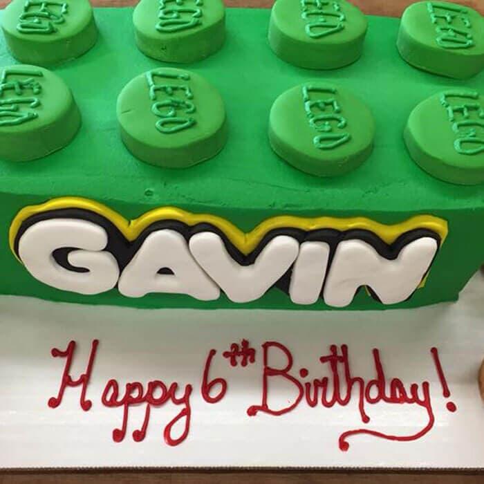 Giant Green Lego Birthday Cake