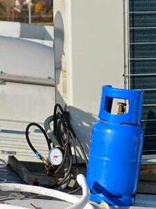 Residential Air Conditioning Unit being maintenanced