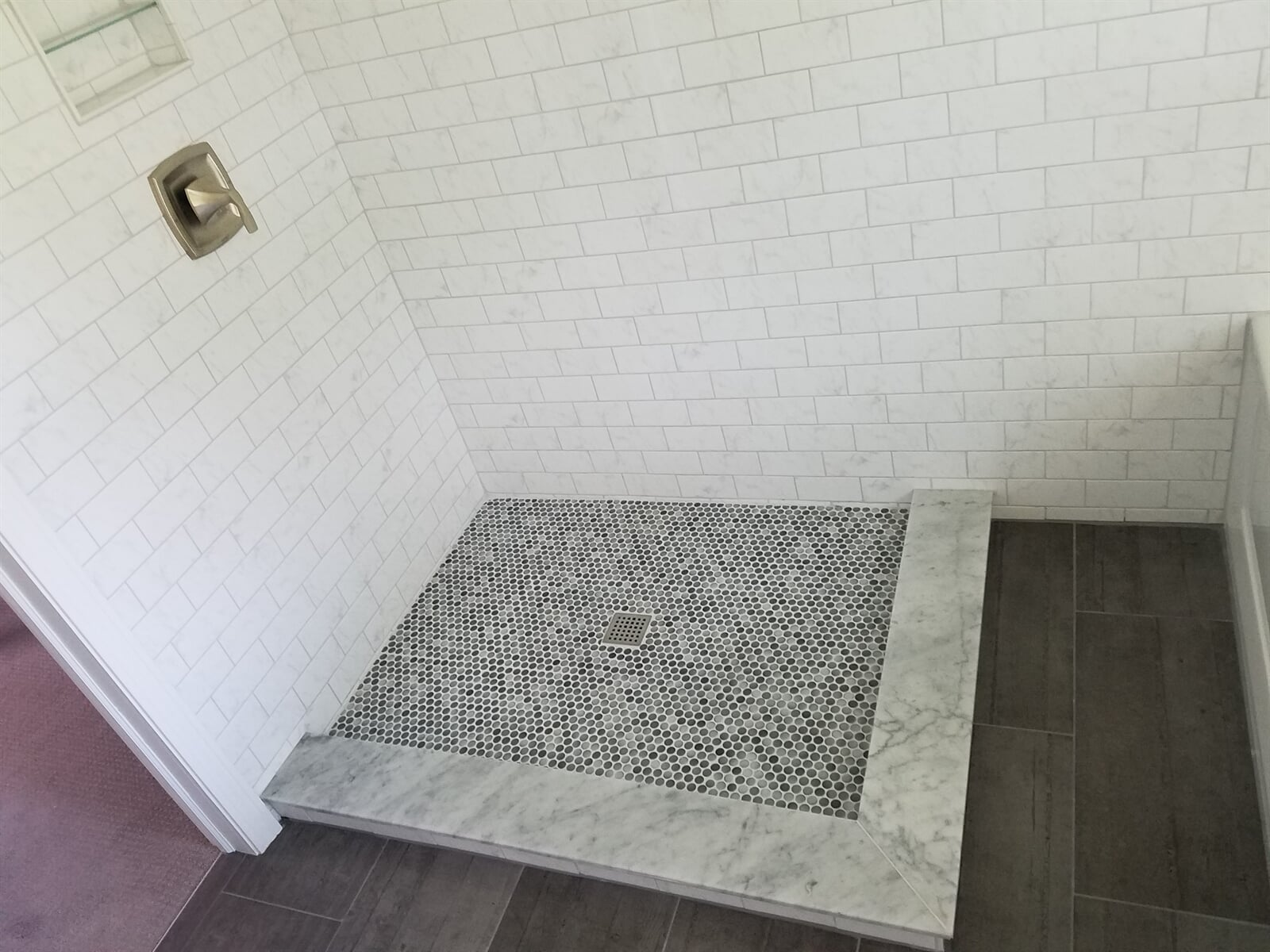Custom Tile Flooring in Bathroom Shower installed by RS Home Repair Services