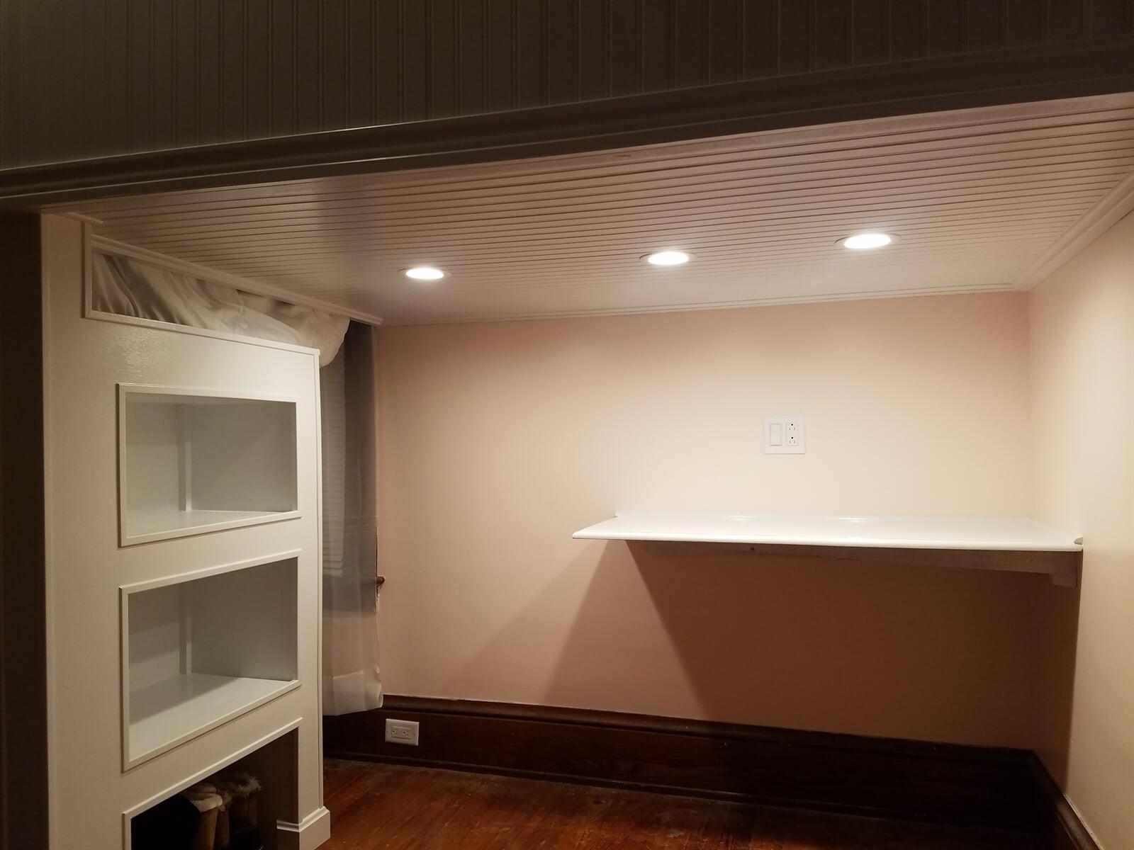 Custom built Desk and Office Area in Basement