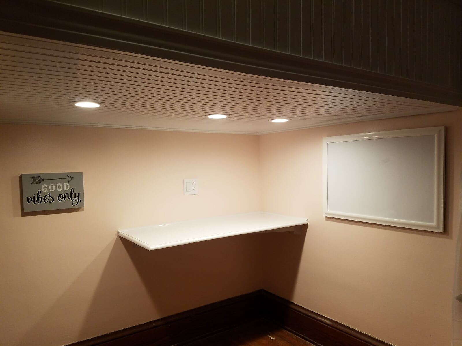 Custom built Shelf and Office Area in Basement