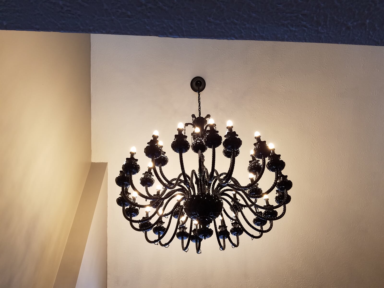 Black Chandelier installed by RS Home Repair Services featuring 30 Individual Lights