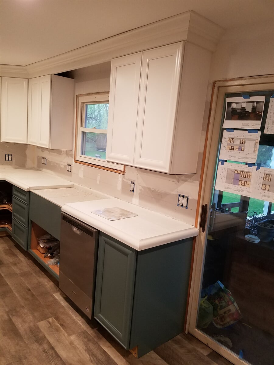 Before of Kitchen Remodel with Concrete Setting in Counter Tops
