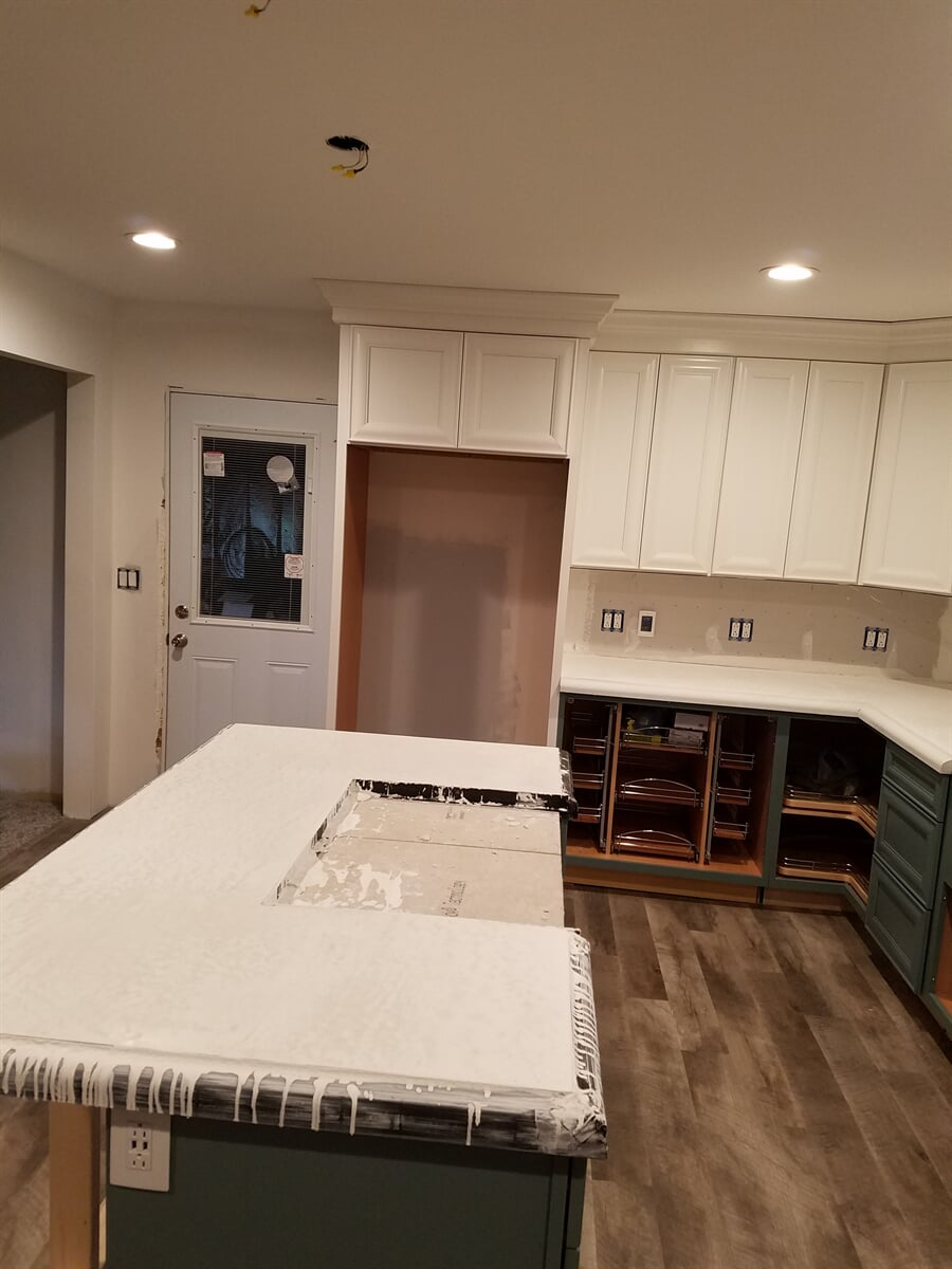 Kitchen Island iwth Polished Setting Concrete Counter Tops