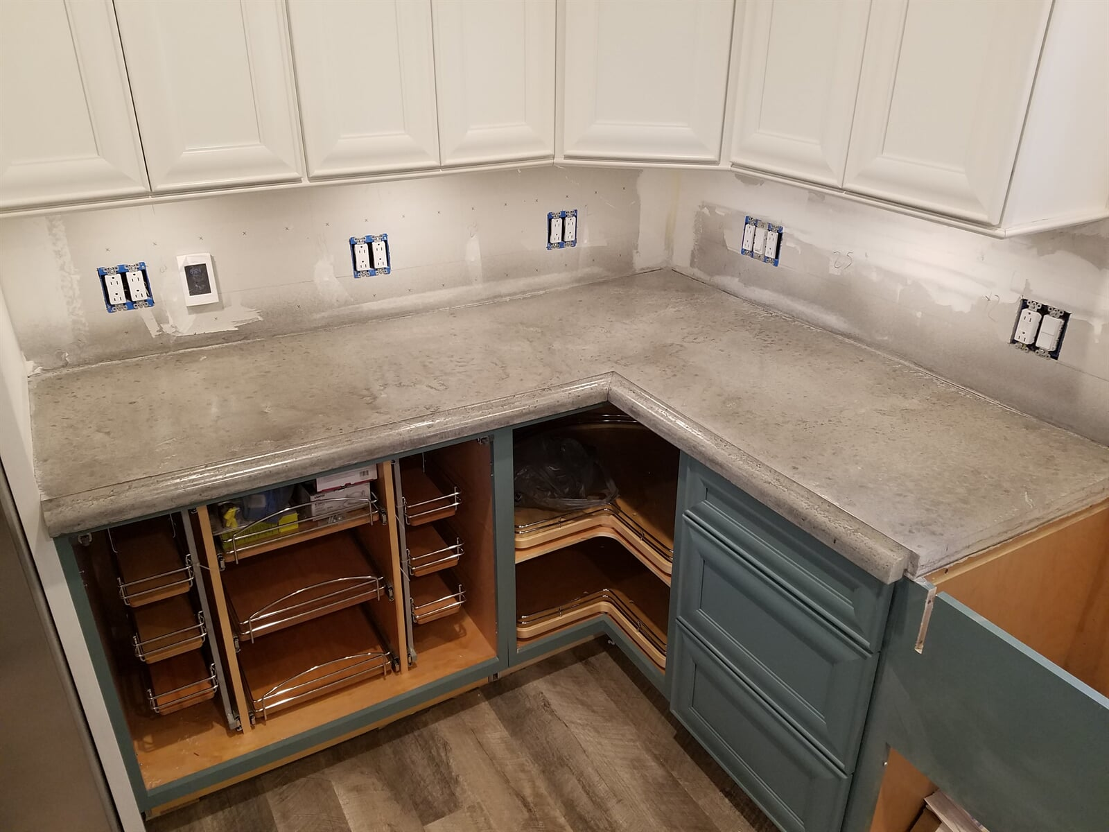 Corner Kitchen Remodel with Concrete Counter tops
