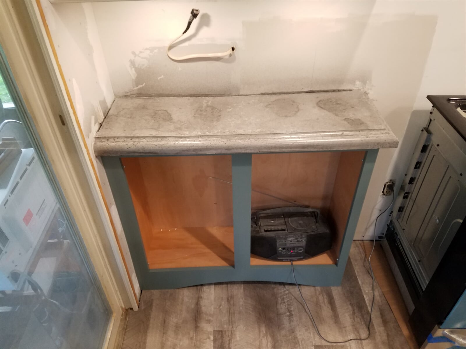 Dual Kitchen Cabinet with Concrete Counter tops