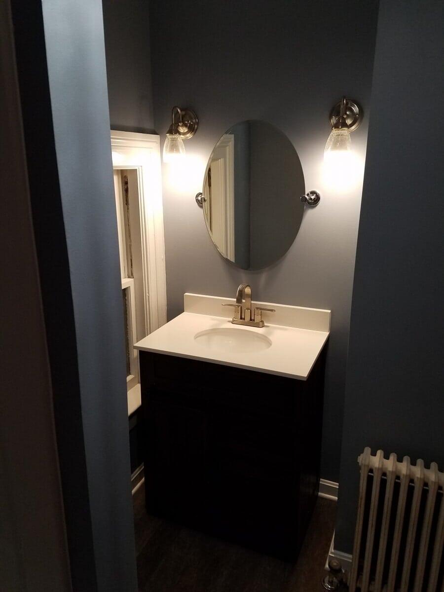 Remodeled Bathroom showcasing Sink and Vanity