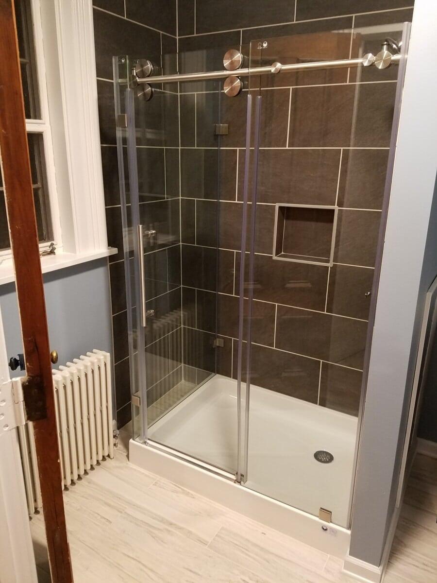 Glass Shower Door with Barn Door Hardware
