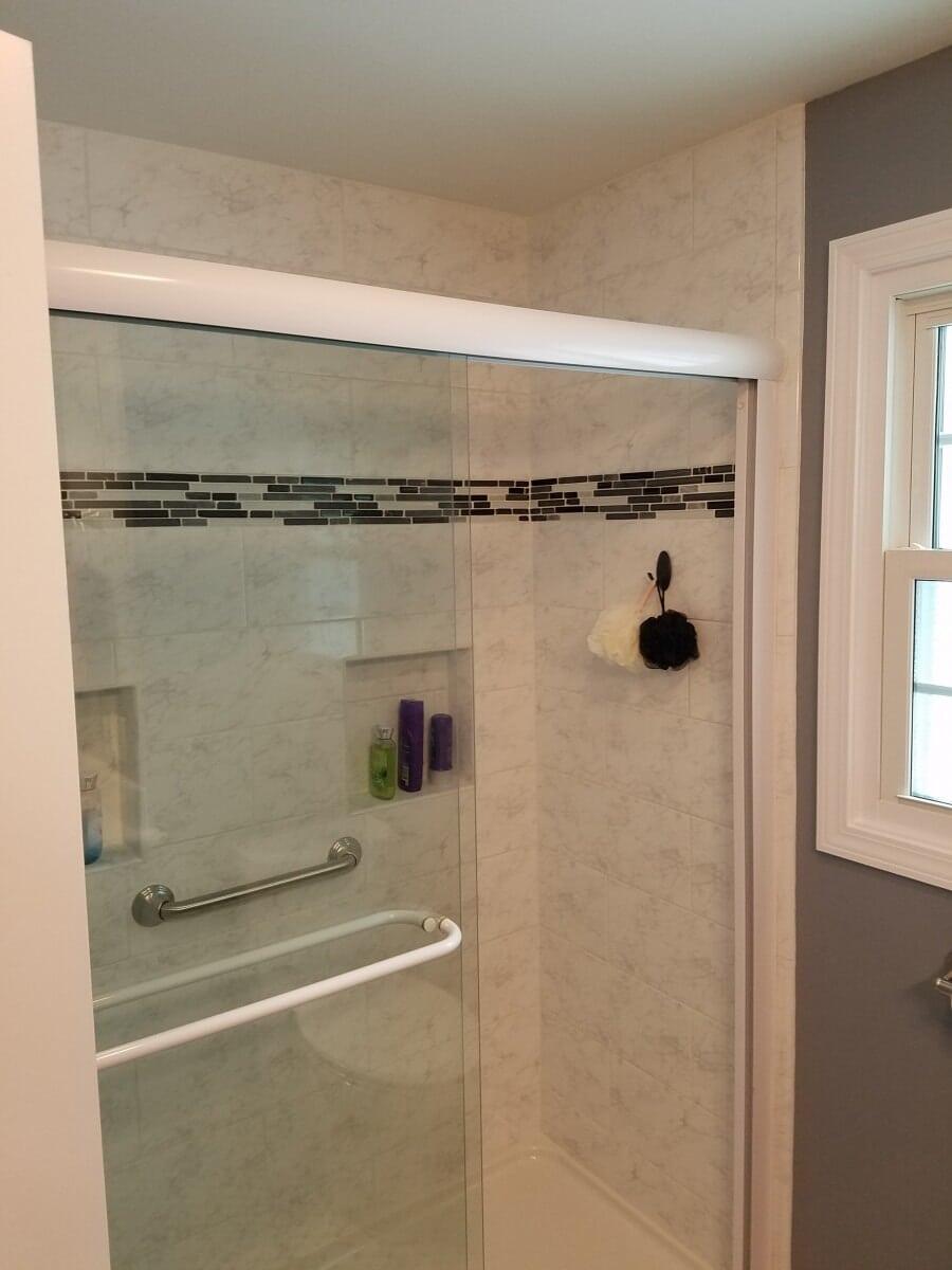 Sliding Glass Door in Remodeled Shower