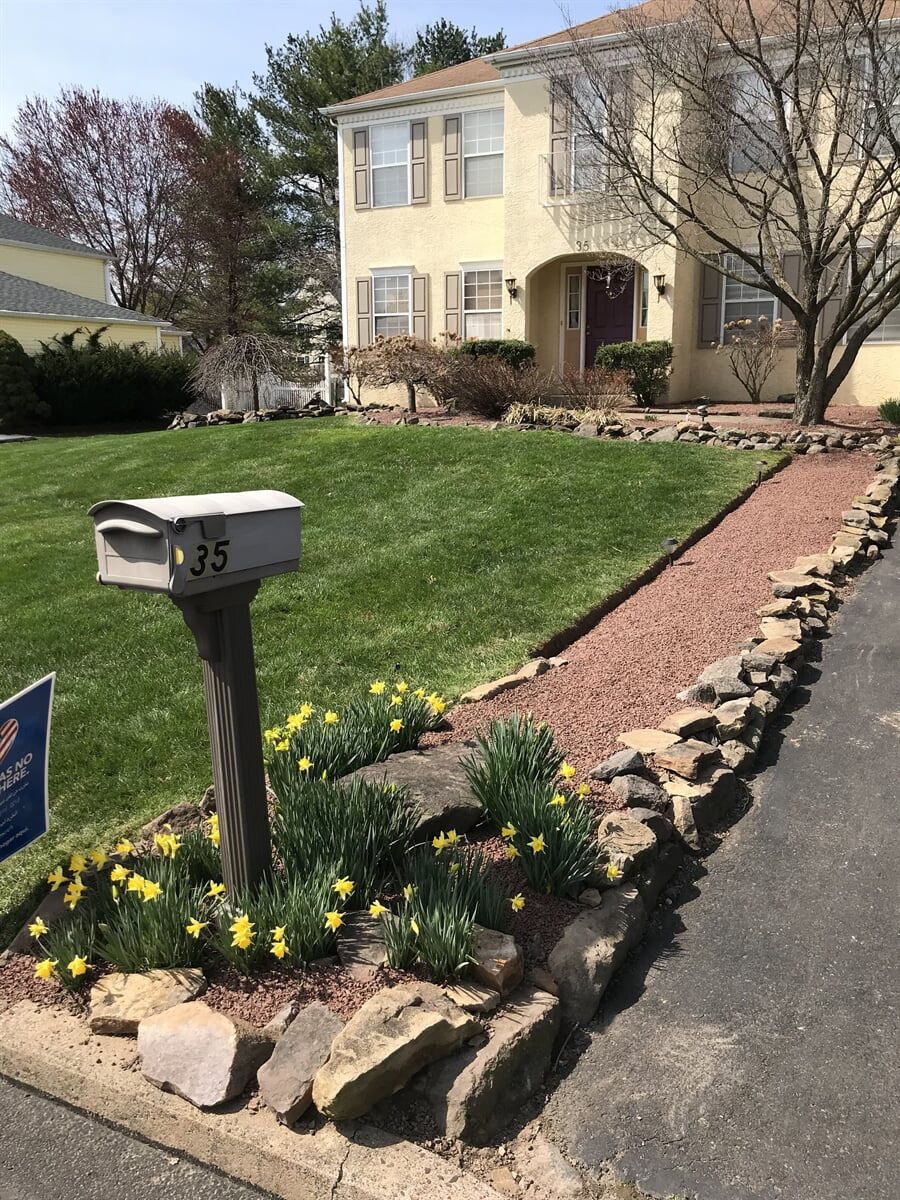 Rock lined driveway with mailbox on curb