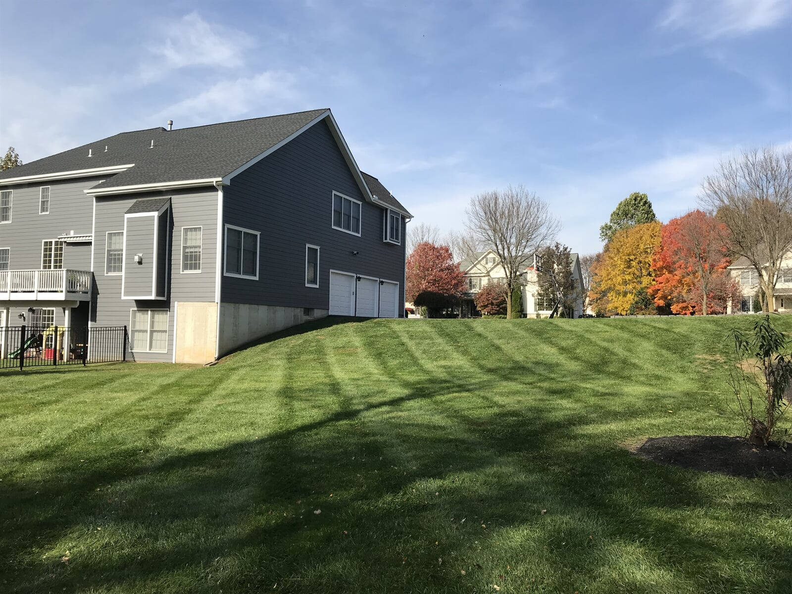 Fresh mowed lawn on side of house