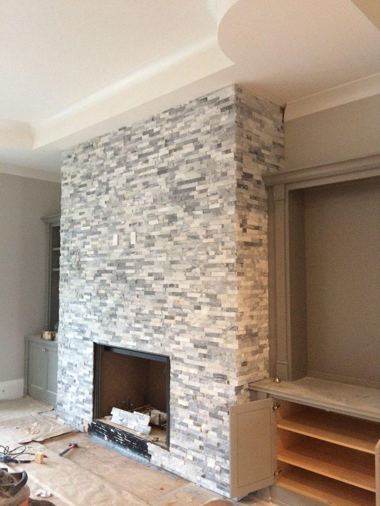 Stone fireplace in Alpharetta, GA from Prestigious Flooring and Design