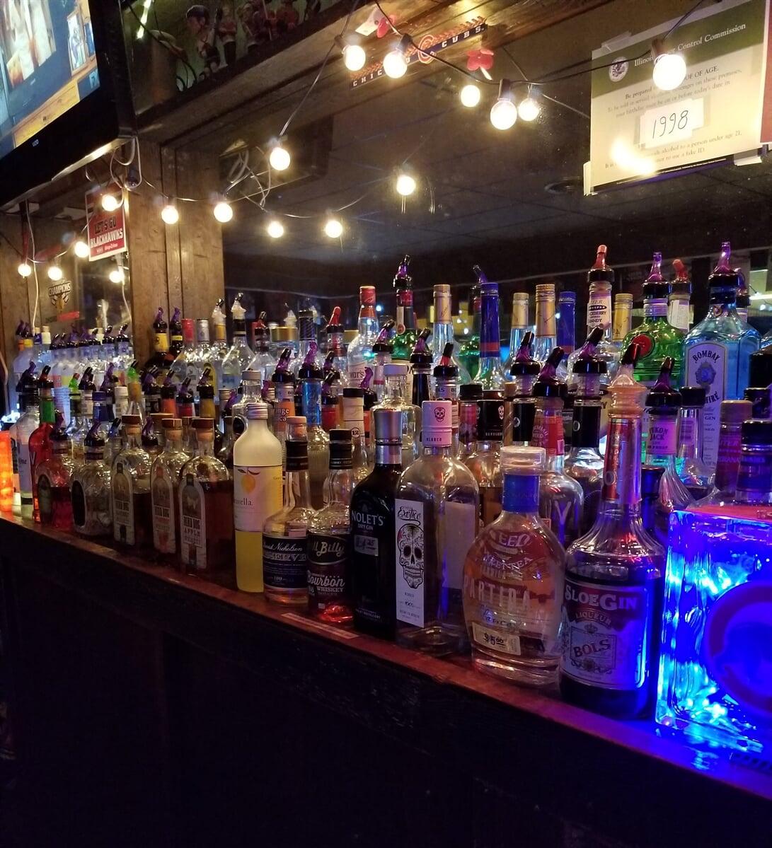 bar showcasing hard liquor