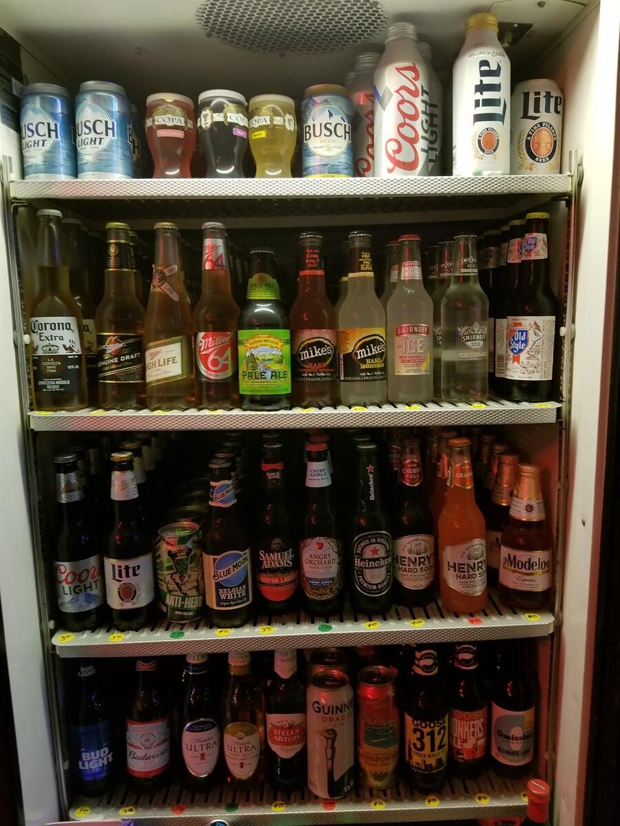 Beverage Cooler showing drink options