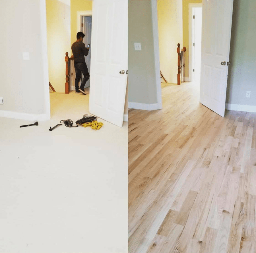 Before and after new hardwood in Watkinsville, GA from Carpets Unlimited