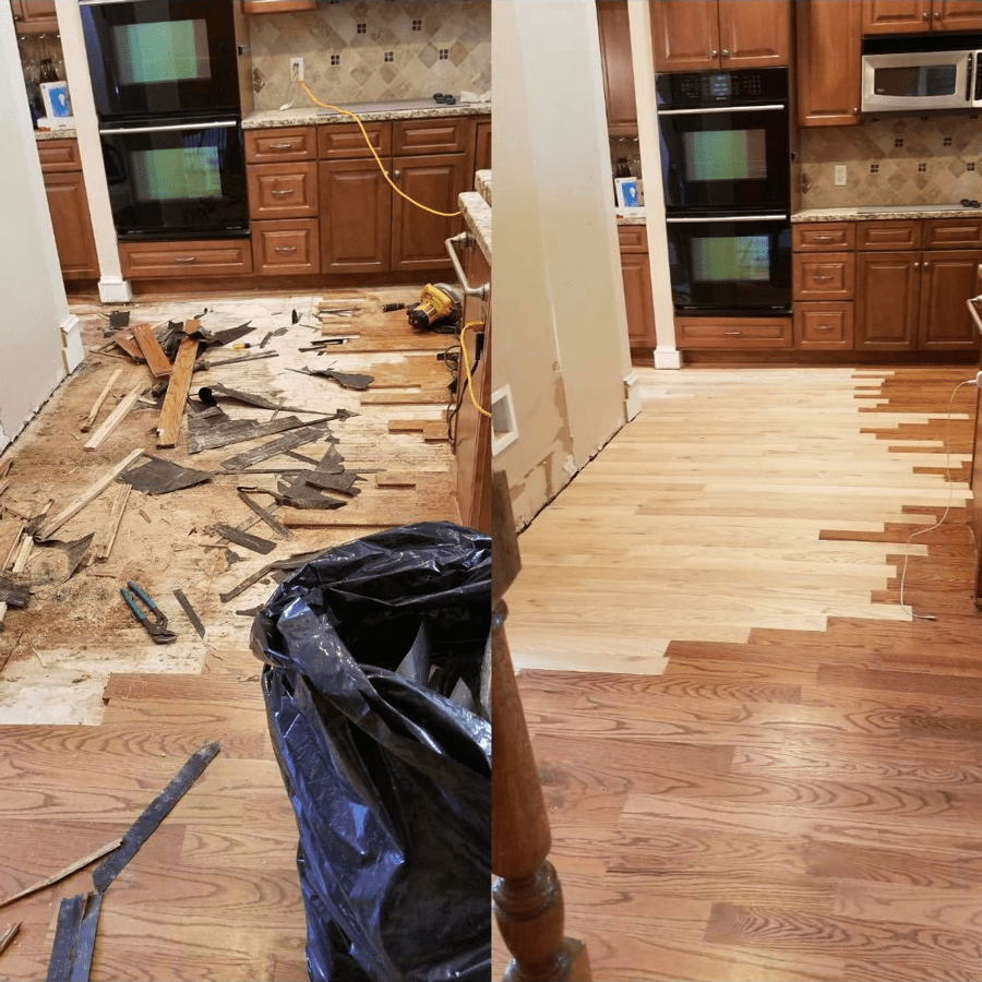 Before and after a Winder, GA hardwood repair from Carpets Unlimited