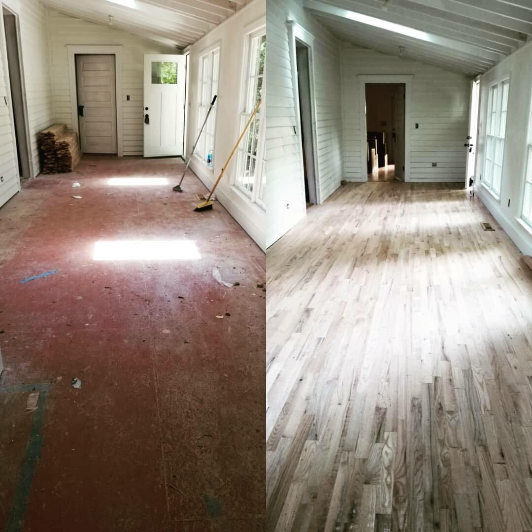 before and after rustic hardwood installation in Winder, GA