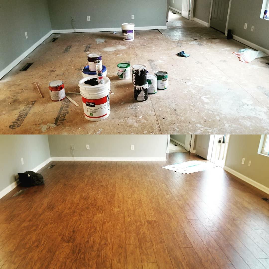 Before and after shiny new hardwood from Carpets Unlimited