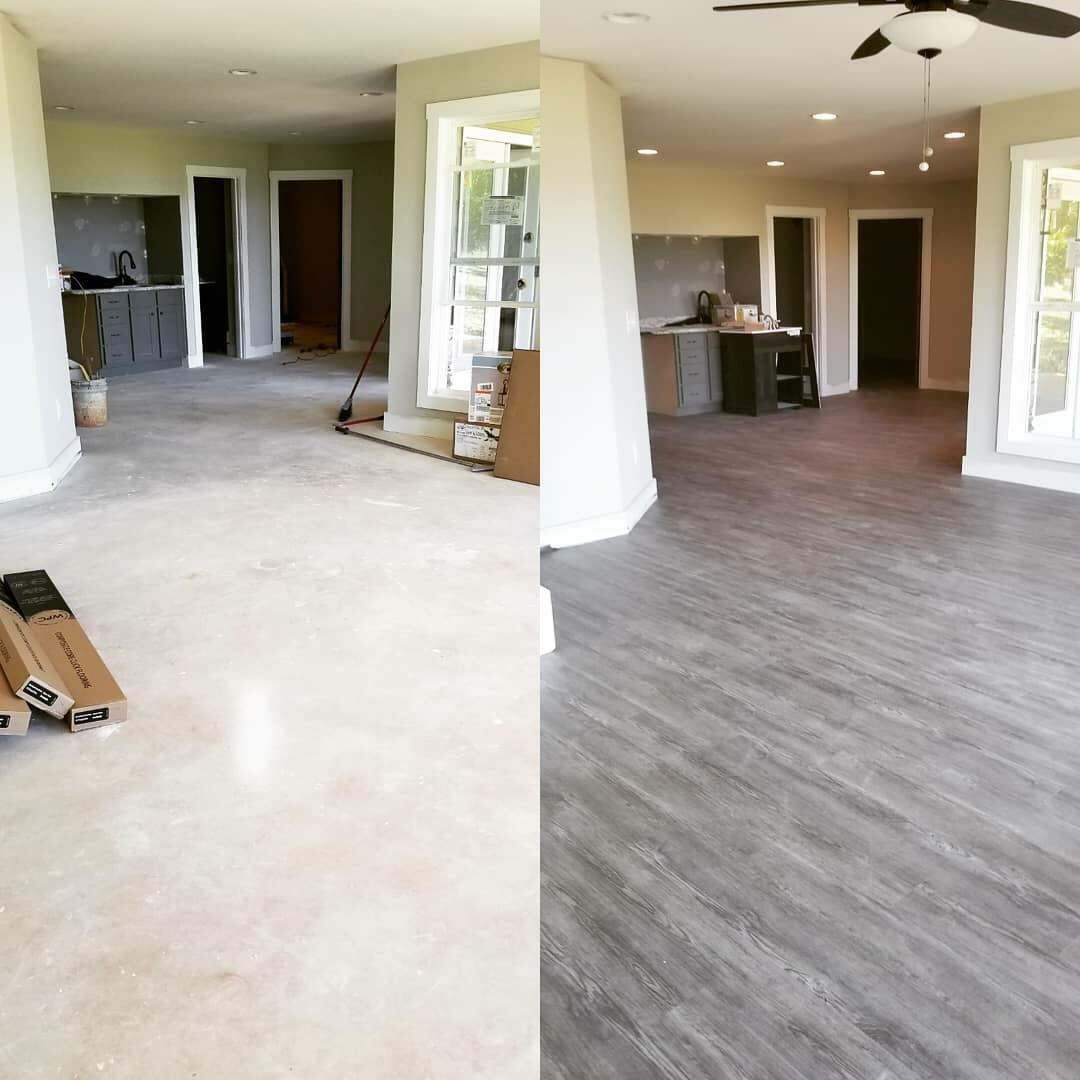 Before and after new gray hardwood from Carpets Unlimited