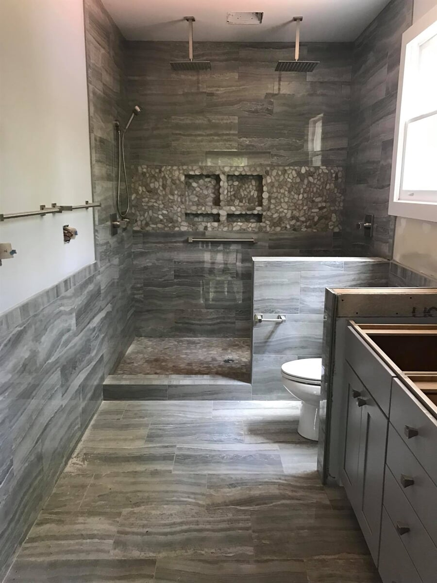 Tile bathroom project from Carpets Unlimited in Athens, GA