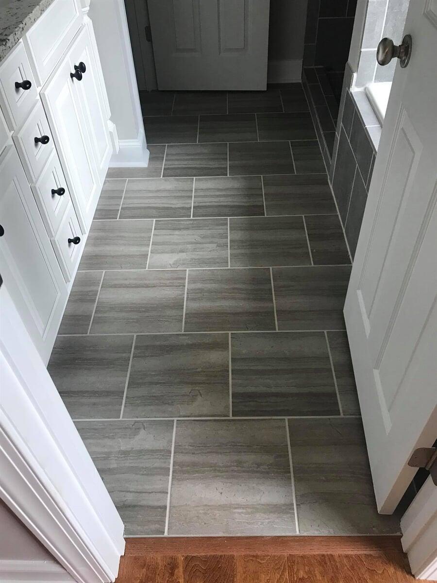 Beautiful new floor tiles in bathroom renovation in Athens, GA