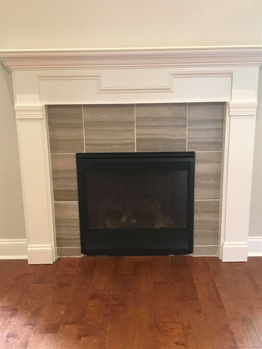 Tile fireplace from Carpets Unlimited in Watkinsville, GA