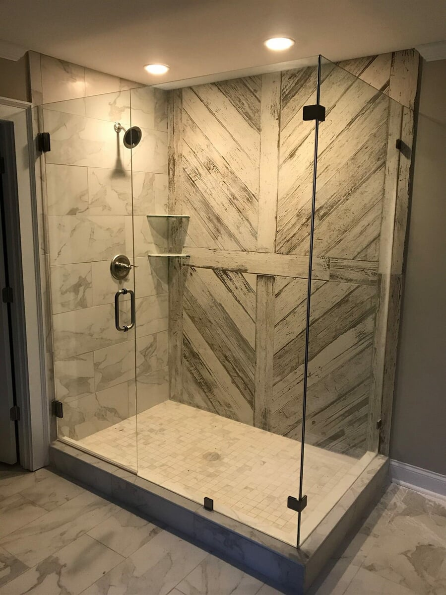 Custom tile shower and doors in Athens, GA