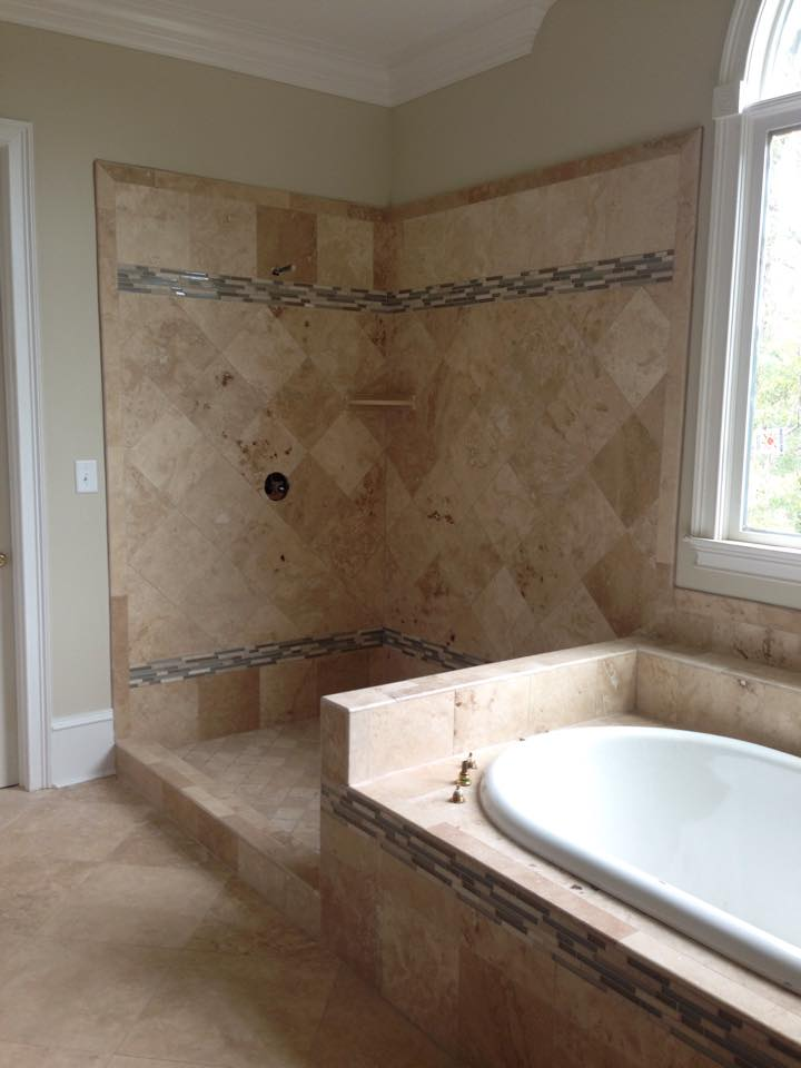 Custom tan tile bathroom from Carpets Unlimited in Watkinsville, GA