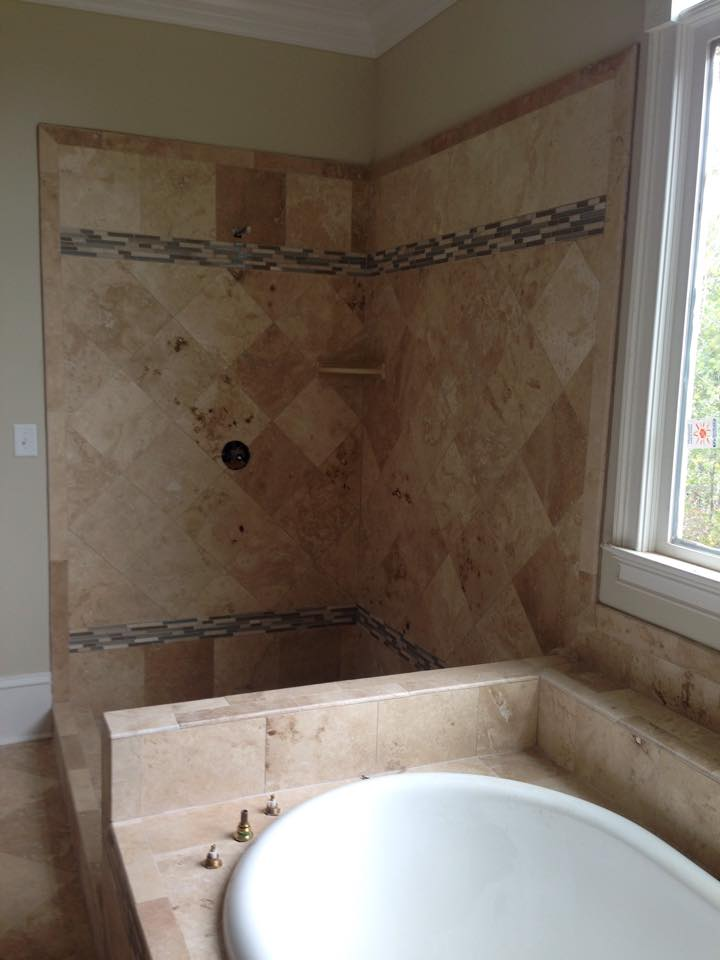 Custom tan tile shower with accents in Winder, GA