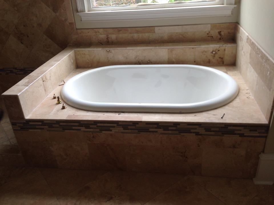 Tub surround installation service from Carpets Unlimited