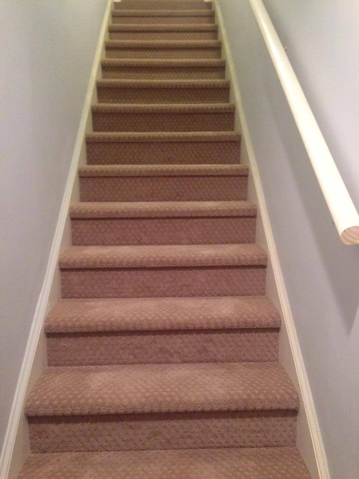 Newly carpeted stairs in Lawrenceville, GA from Carpets Unlimited