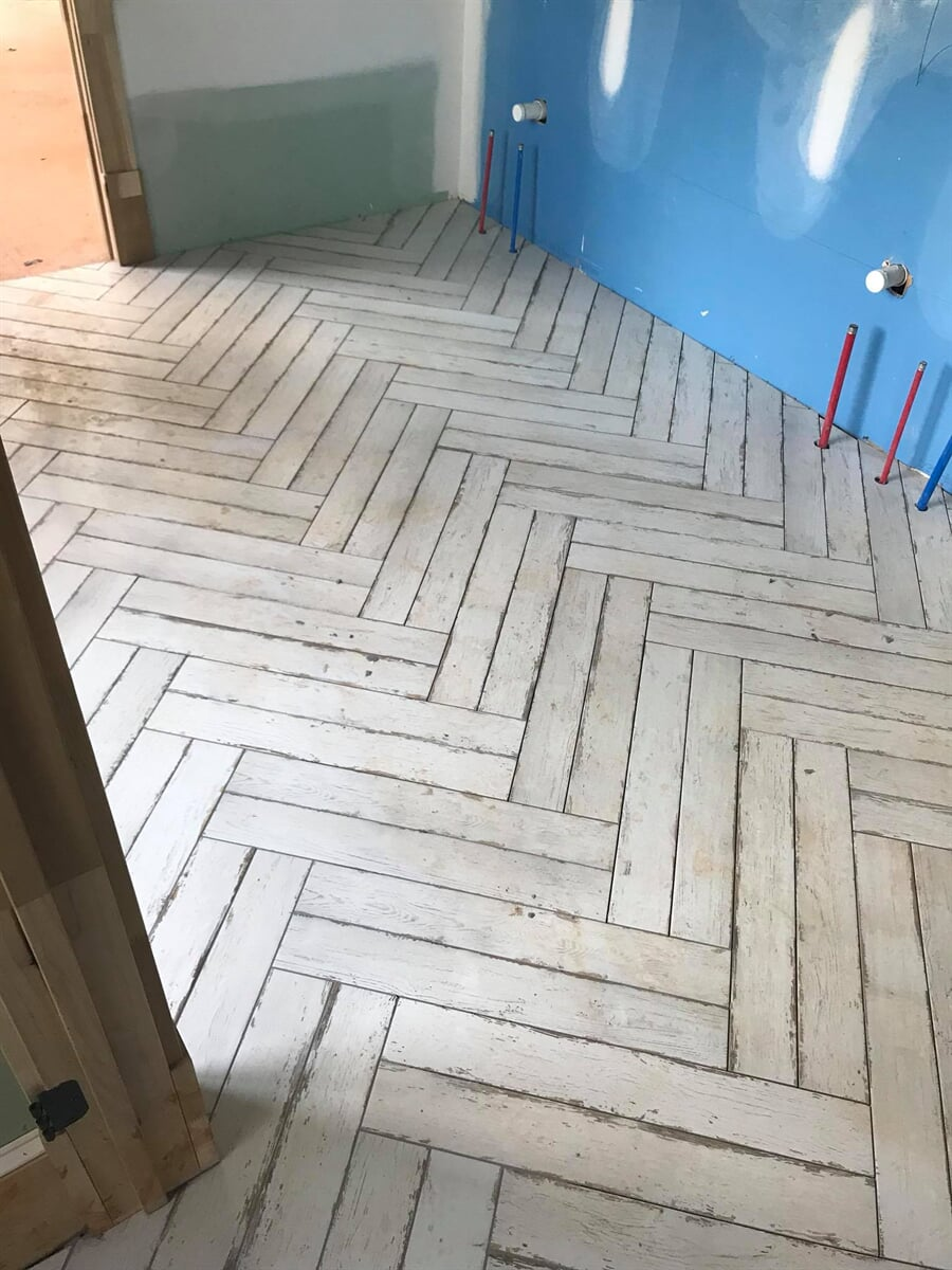 Hardwood installed in herringbone pattern in Watkinsville, GA