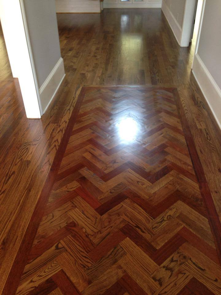 Smooth finish herringbone hardwood flooring in Lawrenceville, GA
