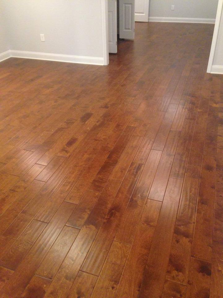 Textured medium color oak hardwood flooring installation