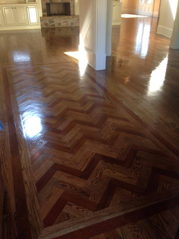 Herringbone oak hardwood with dark tone in Watkinsville, GA